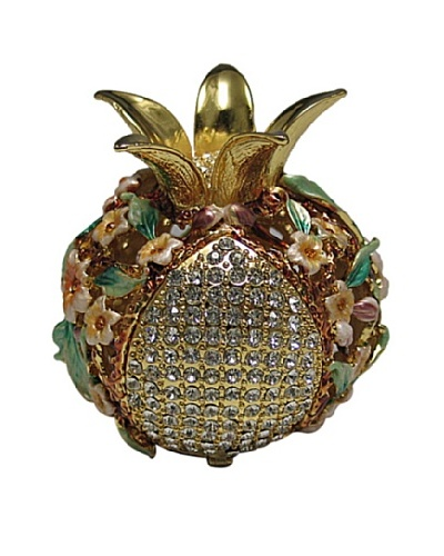 Legacy Judaica Jeweled Pomegranate Spicebox, Cream Flower/Gold and Green Leaves