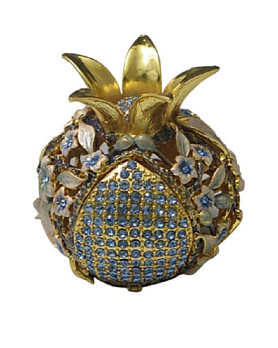 Legacy Judaica Jeweled Pomegranate Spicebox, White Flower/Blue and White Leaves