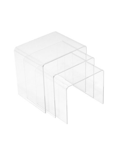 LexMod Casper 3-Piece Nesting Tables, Clear