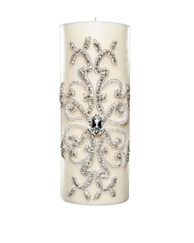 Lisa Carrier Designs Large Diamond Pillar Candle in Gardenia Scent, White, 61-Oz.
