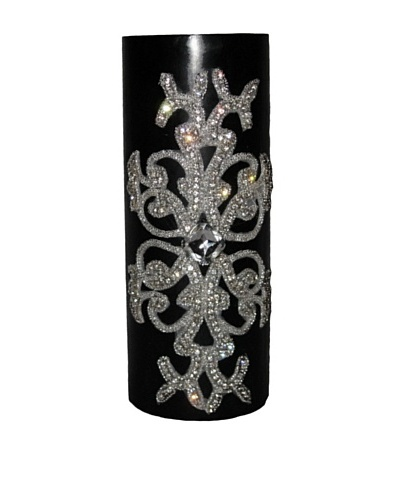 Lisa Carrier Designs Large Diamond Pillar Candle in Gardenia Scent, Black, 61-Oz.