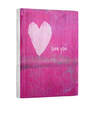Lisa Weedn Love You Pink Reclaimed Finished Wood Portrait