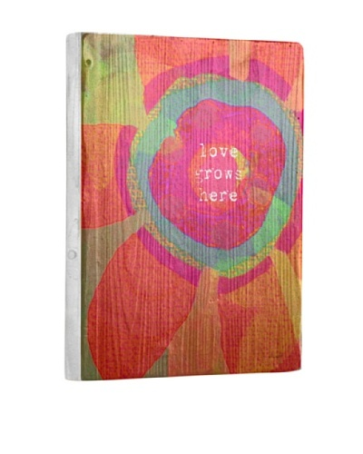 Lisa Weedn Love Grows Here Pink/Orange Reclaimed Finished Wood Portrait