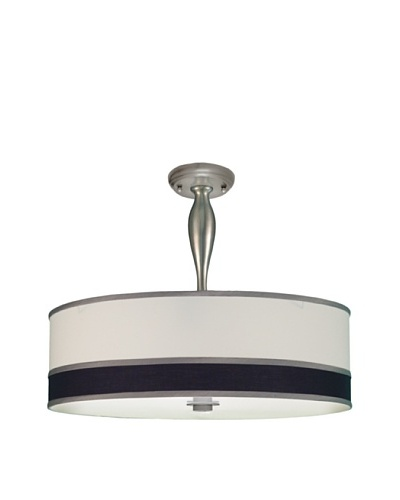 Lite Tops Nmulti Color Drum Semi Flush-Mount Fixture, Satin Nickel