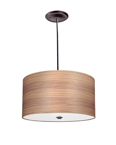 Lite Tops Wood Veneer Drum Pendant, Oil Rubbed Bronze