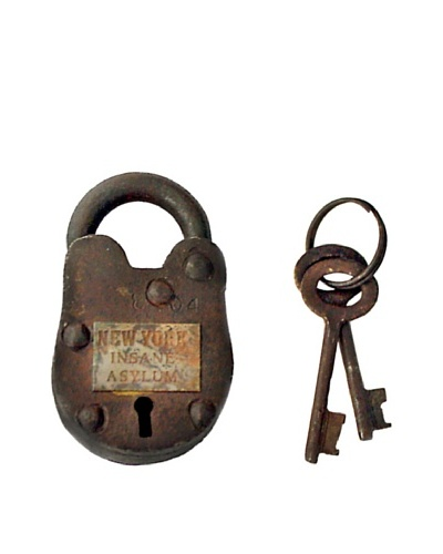Locks of Love Vintage Inspired Cast Iron Padlock with Open Keyhole, c1950s