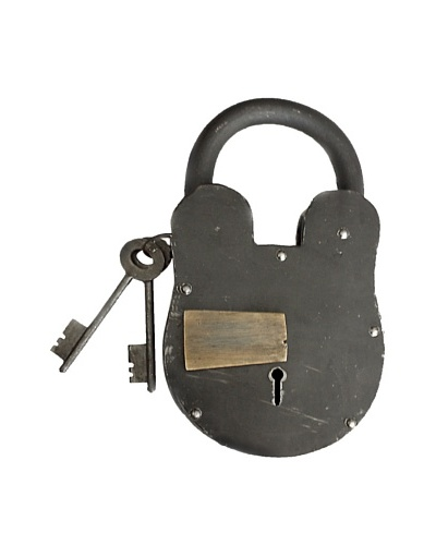 Locks of Love Vintage Inspired Oversized Cast Iron Padlock with Brass Accent, c1950s