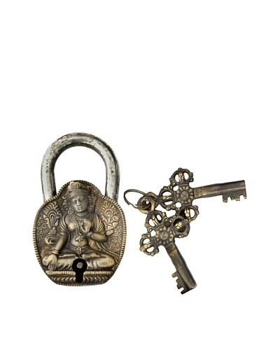 Locks of Love Vintage Inspired Brass Padlock with Buddha Design, c1960s