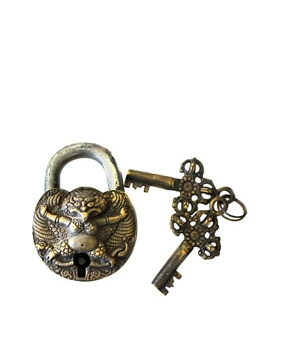 Locks of Love Vintage Inspired Brass Padlock with Fertility Symbol, c1960s