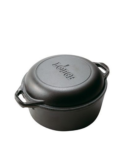 Lodge Logic Pre-Seasoned Cast Iron Double Dutch Oven/Casserole with Skillet Cover, 5-Qt.