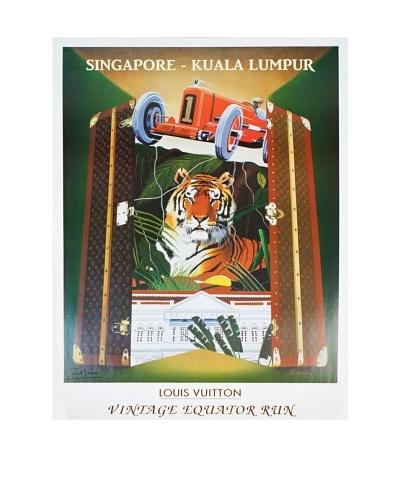 Signed Original Louis Vuitton Vintage Equator Run with Tiger, 1993