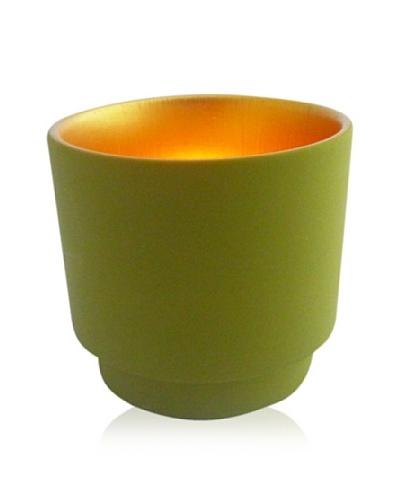 Luminata Studios Ceramic Votive Holder, Green/Gold