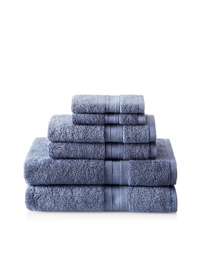 Luxury Suite MicroCotton Aertex 6-PieceTowel Set, Blue Dusk