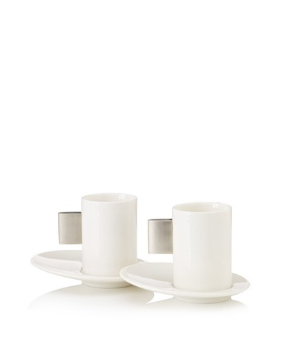 Magppie Set of 2 Sea Cups and Saucers, Off-White/Silver