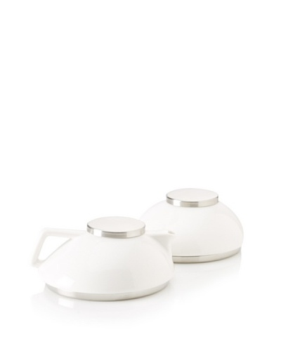 Magppie Five o'Clock Milk and Sugar Pot, Off-White/Silver