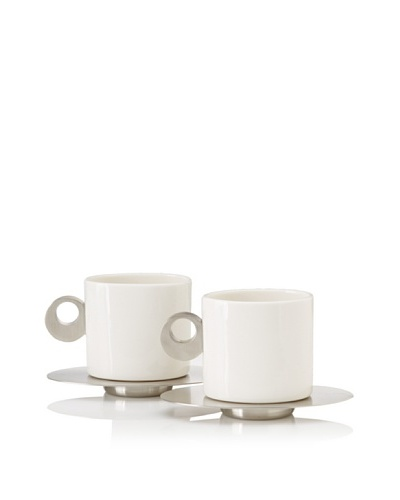 Magppie Set of 2 Gea Cups and Saucers, Off-White/Silver