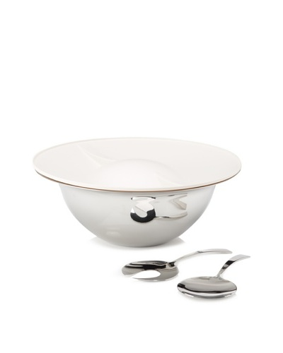 Magppie Ebe Salad Bowl with Lid, Silver/Ivory