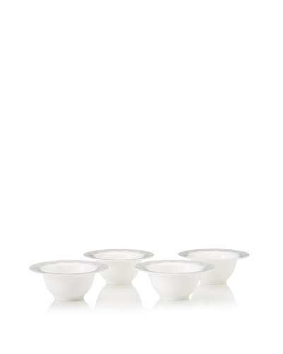 Magppie Set of 4 Ramsete Dessert Bowls, White/Grey, 6.75
