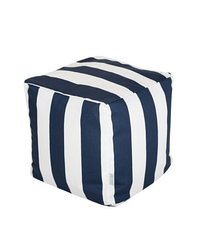Majestic Home Goods Vertical Stripe Small Cube, Navy