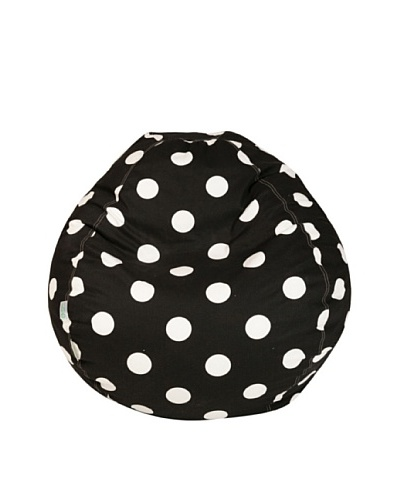 Majestic Home Goods Large Polka Dot Small Bean Bag, Black