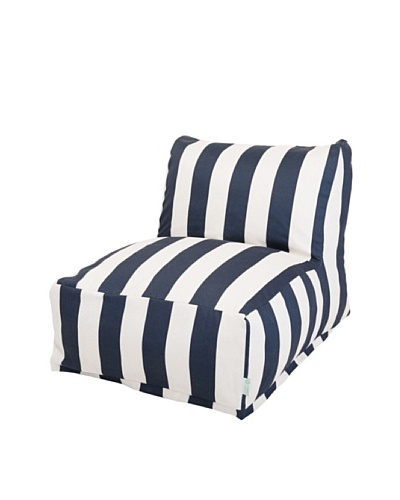 Majestic Home Goods Vertical Stripe Bean Bag Chair Lounger, Navy