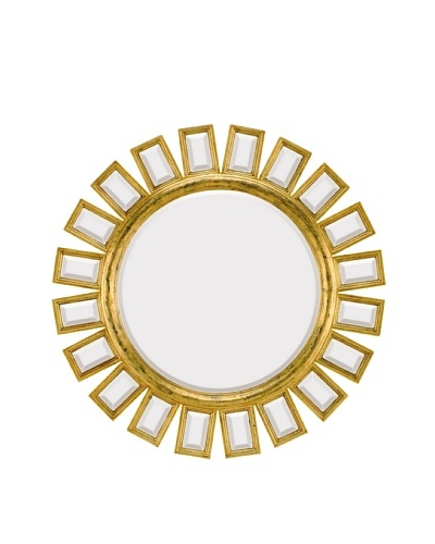 Majestic Mirrors Arcadia Mirror, Antique Gold/Black, 34 x 34