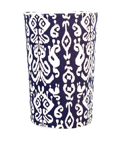 Malabar Bay Ikat Canvas Wastebasket, Navy