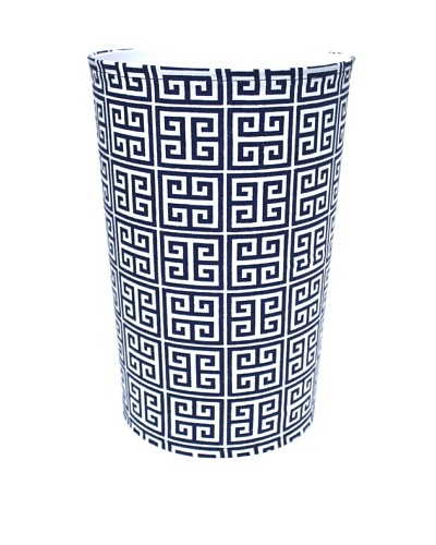Malabar Bay Greek Key Canvas Wastebasket, Navy