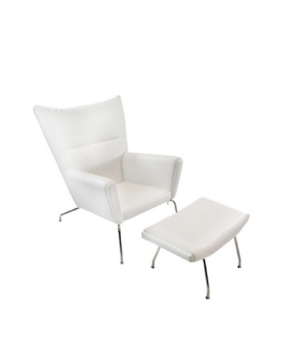 Manhattan Living Wing Chair and Ottoman Set in Leather, White
