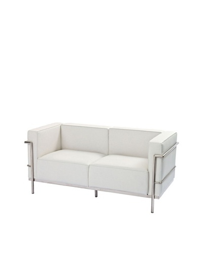 Manhattan Living Grand Leather Loveseat, White