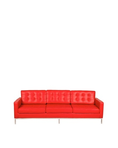 Manhattan Living Button Sofa in Leather, Red