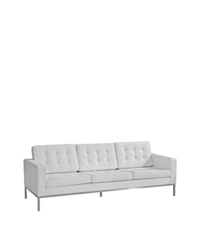 Manhattan Living Button Sofa in Leather, White