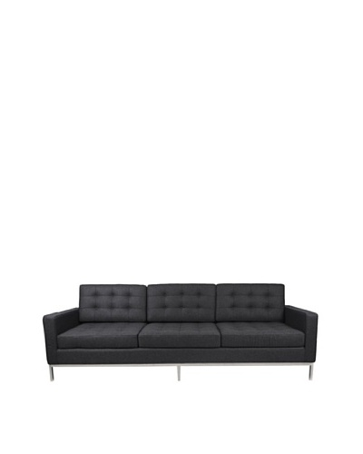 Manhattan Living Button Sofa in Wool, Gray
