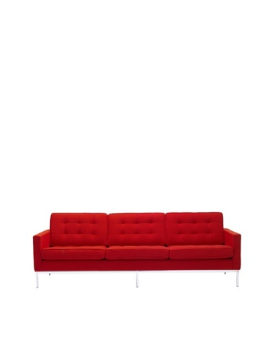 Manhattan Living Button Sofa in Wool, Red