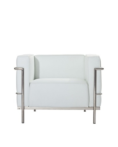 Manhattan Living Grand Leather Chair, White