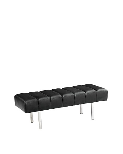 Manhattan Living Classic Leather 2-Seater Bench, Black