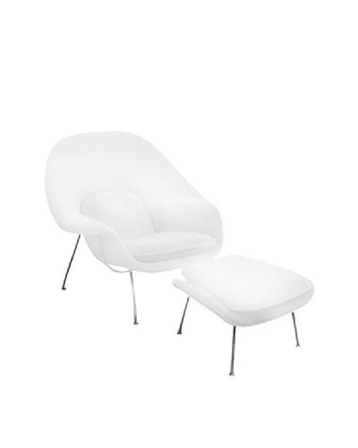 Manhattan Living Womb Chair & Ottoman Set, White