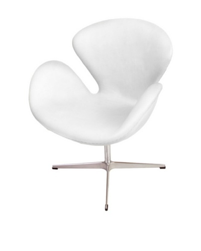 Manhattan Living Swan Leather Chair, White