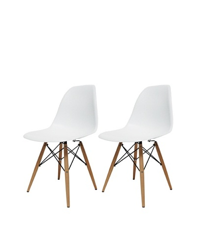 Manhattan Living Set of 2 Park Ave Chairs, White