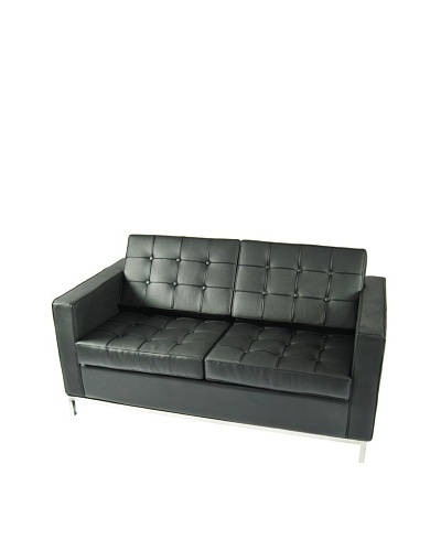 Manhattan Living Button Loveseat in Leather, Black