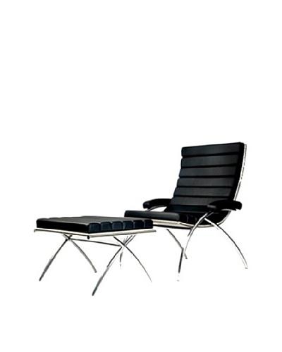 Manhattan Living Classic Chair and Ottoman Set, Black