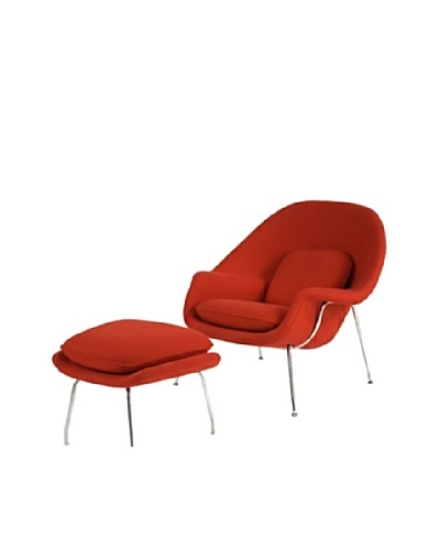 Manhattan Living Womb Chair & Ottoman Set, Red