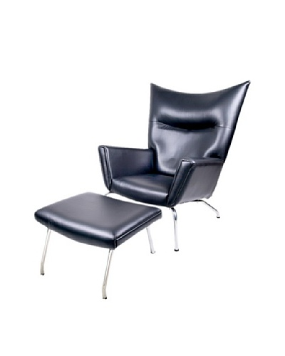 Manhattan Living Wing Chair and Ottoman Set in Leather, Black