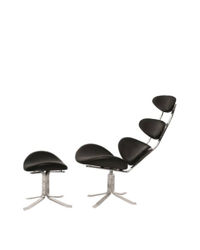 Manhattan Living Crono Chair & Ottoman Set, Black