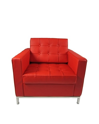Manhattan Living Button Armchair in Leather, Red
