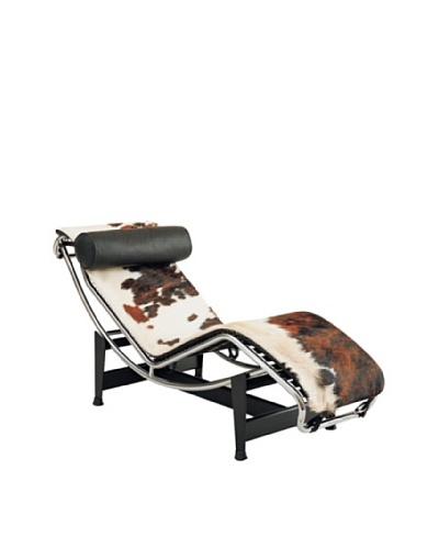Manhattan Living Adjustable Chaise in Pony Hide, Brown/White