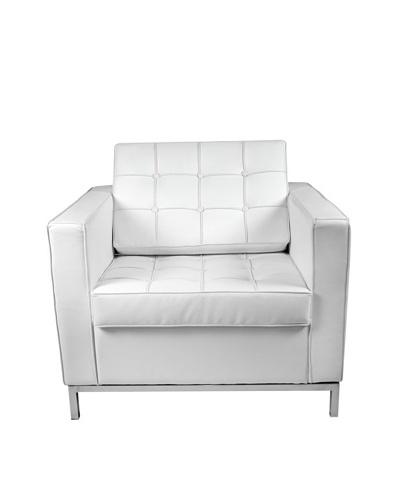 Manhattan Living Leather Button Armchair, White