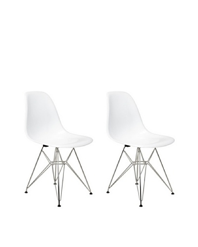 Manhattan Living Set of 2 6th Ave Chairs, White