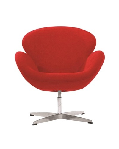 Manhattan Living Fabric Swan Chair, Red