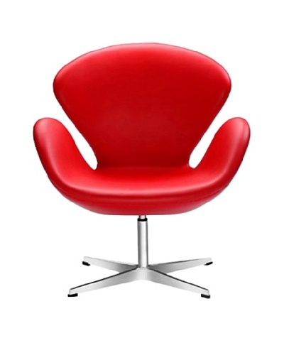 Manhattan Living Leather Swan Chair, Red